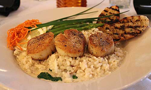Fresh Restaurant Scallops dinner